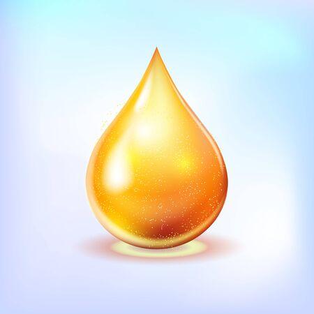 Oil drop gold shining icon. Vitamin. Shining golden substance drop. Vector illustration.