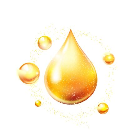 Oil drop gold shining icon. Vitamin. Shining golden substance drop. Vector illustration.