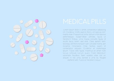 Various vector pills and tablets isolated on white background. White pill and tablets, medicine isolated. Heap of drug. Medical background. Flat style. vector
