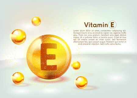 Vitamin E gold shining icon. Ascorbic acid. Shining golden substance drop. Nutrition skin care. Vector illustration. Ilustração Vetorial