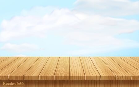 vector wood table top on nature background.blue sky with white clouds.realistic wooden table, 3d. Element for your design, advertising.vector illustration. 向量圖像