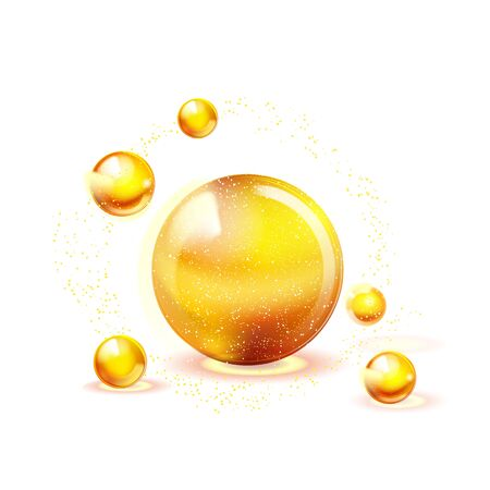 Vitamins gold shining icon. Ascorbic acid. Shining golden substance drop. Nutrition skin care.Medical background.Beauty. Vector illustration. Ilustrace