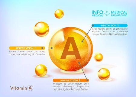 Icône brillante d'or de vitamine A. Infographie médicale. Acide ascorbique. Goutte de substance dorée brillante. Soins de la peau de nutrition. Contexte médical. Beauté. Illustration vectorielle.