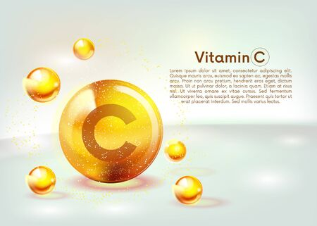 Vitamin C gold shining icon. Ascorbic acid. Shining golden substance drop. Nutrition skin care. Vector illustration.  イラスト・ベクター素材