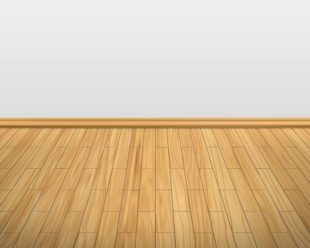 Empty room with white wall and wooden floor interior.laminate flooring, wood texture,wood plank perspective, natural wood, realistic, 3d. Vector