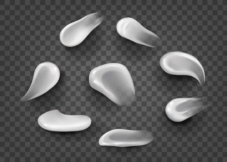 Set of special effects. Blank Strokes. blank liquid .Cosmetic white cream for skin of different shapes and sizes Isolated On transparent Background. smudges white.concealer, cream strokes. Vector
