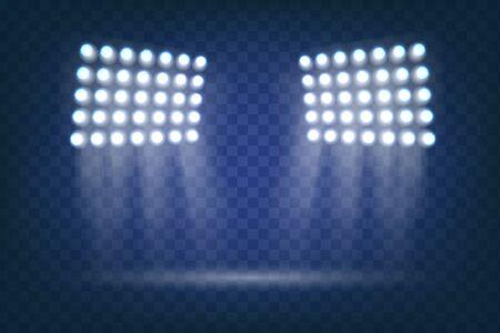 Iluminación de escena, efectos transparentes. El foco brilla en el escenario. Luz de inundación. Efecto de luz flash. Elementos para el campo de deportes. El vector brilla sobre fondo transparente. vector