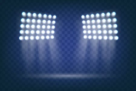 Szenenbeleuchtung, transparente Effekte. Der Scheinwerfer leuchtet auf der Bühne. Flutlicht. Blitzlichteffekt. Elemente für den Sportplatz. Vektor funkelt auf transparentem Hintergrund. Vektor