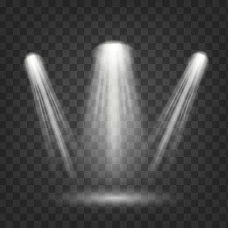 Scene illumination, transparent effects.The spotlight shines on the stage.flash light effect.Vector sparkles on transparent background. vector Ilustración de vector