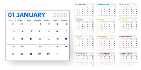 2020 calendar. calendar template on white background. Editable vector file available. English and sunday to monday version.Set of 12 Months. vector Ilustración de vector