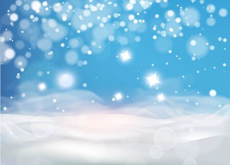 Christmas Winter background with snow drifts ,sky, snowfall, snowflakes in different shapes and forms, . Winter landscape with falling christmas shining beautiful snow. vector