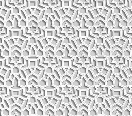 White Seamless geometric pattern. Islamic pattern. arabic, east ornament, indian ornament, persian motif, 3D. Ramadan Kareem greeting card
