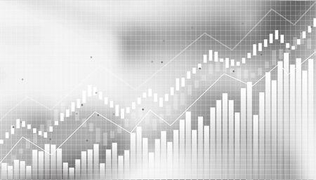 Grafico finanziario astratto con grafico a linee di tendenza rialzista nel mercato azionario su sfondo bianco e nero.reddito in crescita, pianificazione,economia.design vettoriale Vettoriali