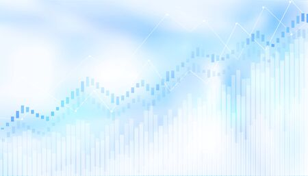 Abstract financial chart with uptrend line graph in stock market on blue light background.growing income, schedule.vector design