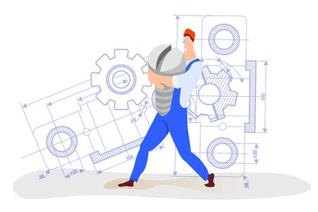An employee of an engineering company, carries a bolt.are engaged in construction.Workers at a construction site. Drawings,schemes,mechanisms. Business concept in cartoon style.Construction worker