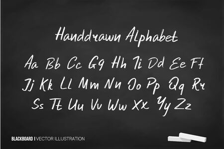 English alphabet letter Latin on chalk Chalkboard. Illustration in vector