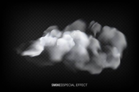 Realistic white smoke puff isolated on transparent background. Steam explosion special effect.transparent special effect. Vector fire fog or mist texture . Ilustração