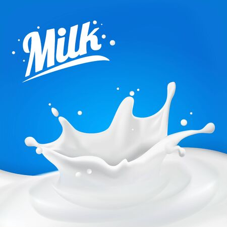 Milk splash 3D.Abstract realistic milk drop with splashes isolated on blue background.element for advertising, package design. vector Vector Illustratie