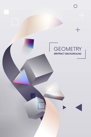 Vector Trendy Poster. Pastel Vibrant Background with geometric 3D Shape.Colorful design.Template for Interior Poster, Flyer, Wallpaper, Banner.vector Ilustração