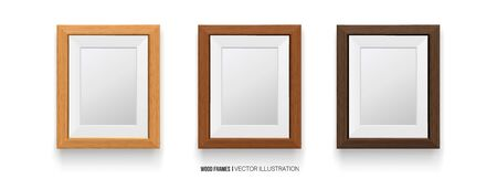 Realisti Wood Frame Isolated on White Background.Different colors. 3D. for Presentations,photo and art. Vector Elements.vector