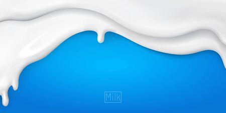 3d realistic yogurt flowing wave border on blue background. white milk splash or ice cream flow soft texture.element for advertising, package design.vector Vettoriali