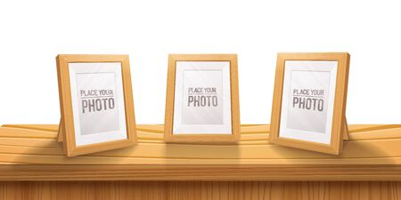 Desktop Empty wooden photo frames,stand on the table.Cartoon style, light color illustration.Realistic wood,transparent glass,3D element .Design Template For Mock Up.vector illustration.