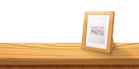 Desktop Empty wooden photo frames,stand on the table.Cartoon style, light color illustration.Realistic wood,transparent glass,3D element .Design Template For Mock Up.vector illustration.