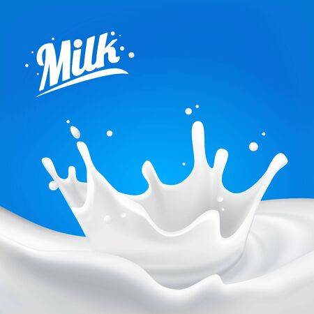 Milk splash 3D.Abstract realistic milk drop with splashes isolated on blue background.element for advertising, package design. vector illustration Ilustração
