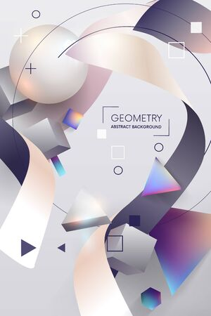 Vector Trendy Poster. Pastel Vibrant Background with geometric 3D Shape.Colorful design.Template for Interior Poster, Flyer, Wallpaper, Banner.vector illustration Vettoriali