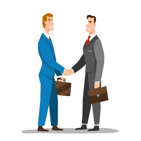 Good Deal Concept. Business Partners Men Handshaking.Businessmen making a deal. Money investment concept.Flat style character vector illustration Vettoriali