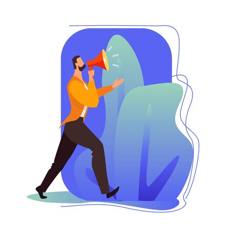 Business man shouting through loud speaker.business promotion, advertising, call through the horn. Man with megaphone. Flat style vector illustration cartoon.
