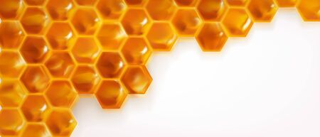 Realistic Honeycombs background. Bright color texture honey, 3D hexagons for banner,natural product. advertising or wallpaper. vector illustration.