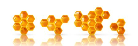 Set of Realistic Honeycombs. Bright color texture honey, 3D hexagons. elements for design banner, advertising or wallpaper. vector illustration.
