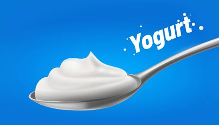 Yogurt in the spoon.Natural white Sour, Cream. isolated on blue background. vector illustration