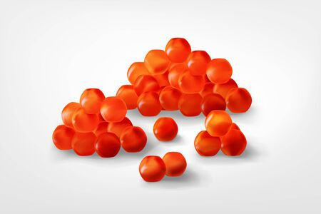 Realistic Red Caviar, Detailed 3d Set. Sea food.Healthy Appetizer,Luxury, Delicacy,Fish Roe.vector