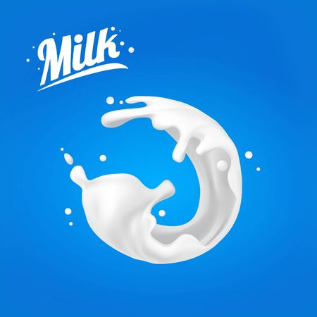 Milk splash. spot 3D.Abstract realistic milk drop with splashes isolated on blue background.element for advertising, package design. vector illustration