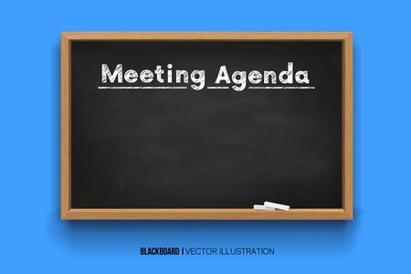 Hand writing the word Meeting Agenda with white Chalk inscription on a blackboard. Chalkboard 3D. Realistic black boards in a wooden frame isolated on a blue background. Ilustração