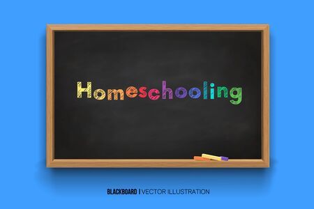 Homeschooling. Colorful Word.online learning. Chalk inscription on a blackboard. Chalkboard 3D. Realistic black boards in a wooden frame isolated on a blue background. Ilustração