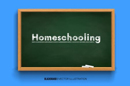 Homeschooling. Word Homeschooling on a board.online learning. Chalk inscription on a blackboard. Chalkboard 3D. Realistic black boards in a wooden frame isolated on a blue background. Background for Ilustração
