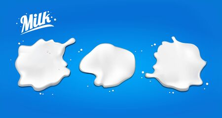 Set of spilled milk. spots 3D.Abstract realistic milk drop with splashes isolated on blue background.element for advertising, package design. vector illustration