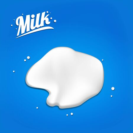 spilled milk. spot 3D.Abstract realistic milk drop with splashes isolated on blue background.element for advertising, package design. vector illustration Ilustração