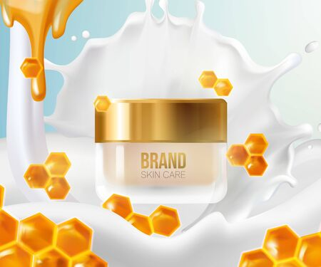 Cream with milk splashes and honeycomb.Background Concept Skin Care Cosmetic.Container mockup, cosmetic bottle package,bank,3d leaves whirl in the air.Bright Background.Vector illustration