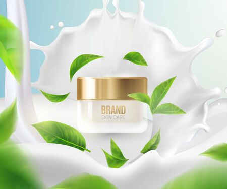Cream with milk splashes.Background Concept Skin Care Cosmetic.Container mockup, cosmetic bottle package,bank,3d leaves whirl in the air.Bright Background.Vector