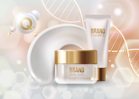 Golden DNA structure background. Beauty skin care luxury cosmetics concept. Molecular structure. 3D . Cosmetics package mockup design. 3d. cream contained in cosmetic tube and glass jar. smear.vector Ilustração