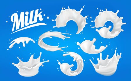 Set of splashes of milk. spots 3D.Abstract realistic milk drop with splashes isolated on blue background.element for advertising, package design. vector illustration