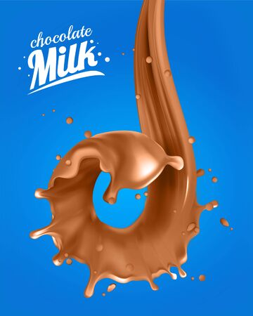 Realistic 3d chocolate Milk Spiral Jet. Abstract milk drop with splashes isolated on blue background.element for advertising, package design. vector illustration