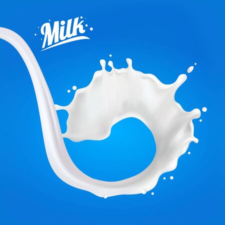 Realistic 3d Milk Spiral Jet. Abstract milk drop with splashes isolated on blue background.element for advertising, package design. vector illustration