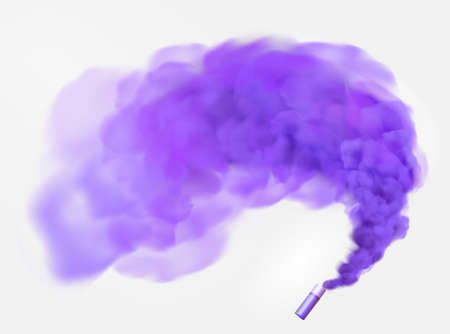 Color violet festive smoke bomb.Football fans torch firework. isolated fog or smoke, transparent special effect. Bright magic cloud.Vector element for your design.