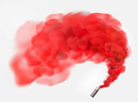Color red festive smoke bomb.Football fans torch firework. isolated fog or smoke, transparent special effect. Bright magic cloud.Vector element for your design. Banco de Imagens