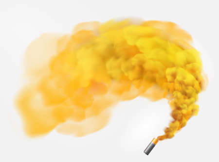 Color yellow festive smoke bomb.Football fans torch firework. isolated fog or smoke, transparent special effect. Bright magic cloud.Vector element for your design.